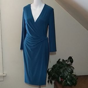 ⚜️🆕NWT Anne Klein long sleeve teal wrap dress
